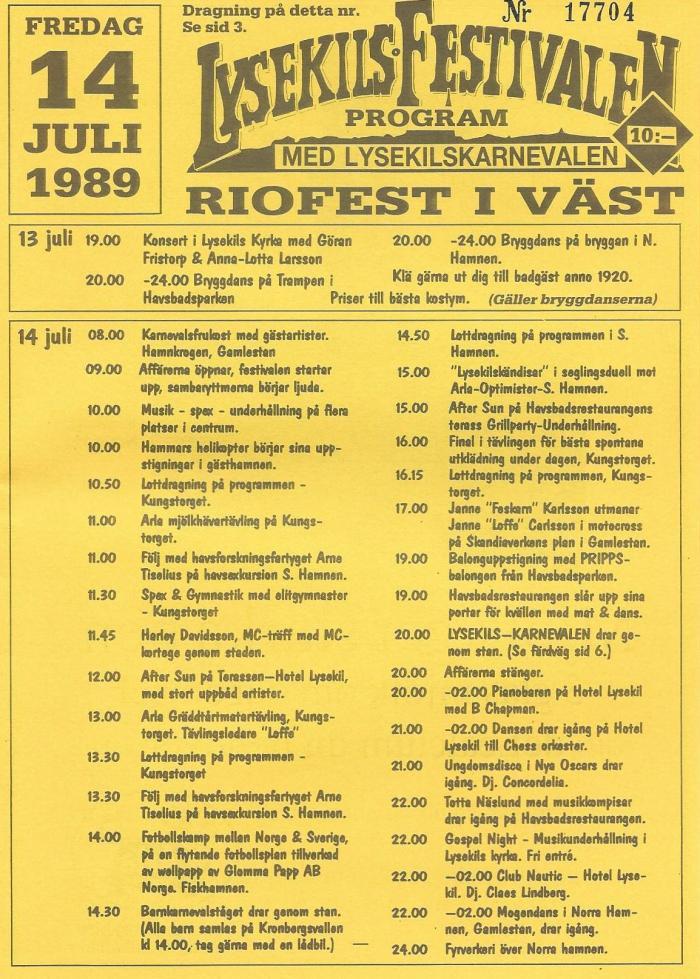 Festivalprogram från 1989.