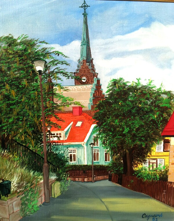 Oil painting, street in Lysekil